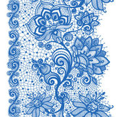 Abstract seamless lace pattern with flowers and butterflies. — Stock Vector