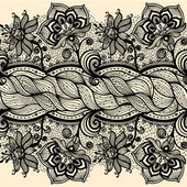 Abstract seamless horizontal lace pattern with flowers. — Stock vektor