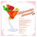 Cocktail Watermelon lemonade. Menu drawn watercolor. — Stock Vector #50728115