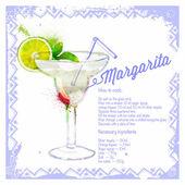 Cocktail Margarita. Menu drawn watercolor. — 图库矢量图片