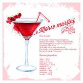 Cocktails morse martini. Menu drawn watercolor. — 图库矢量图片