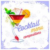 Cocktails menu drawn watercolor. — 图库矢量图片