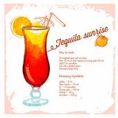 Tequilla sunrise cocktails drawn watercolor. — 图库矢量图片