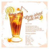 Cocktails Long island iced tea. Menu drawn watercolor. — 图库矢量图片