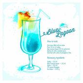 Blue Lagoon cocktails drawn watercolor. — 图库矢量图片