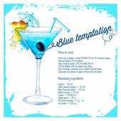 Blue temptation cocktails drawn watercolor. — Stock Vector