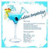 Blue temptation cocktails drawn watercolor. — Stock Vector