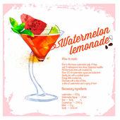 Cocktail Watermelon lemonade. Menu drawn watercolor. — 图库矢量图片