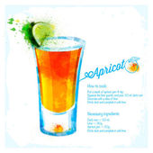Apricot cocktails drawn watercolor. — 图库矢量图片