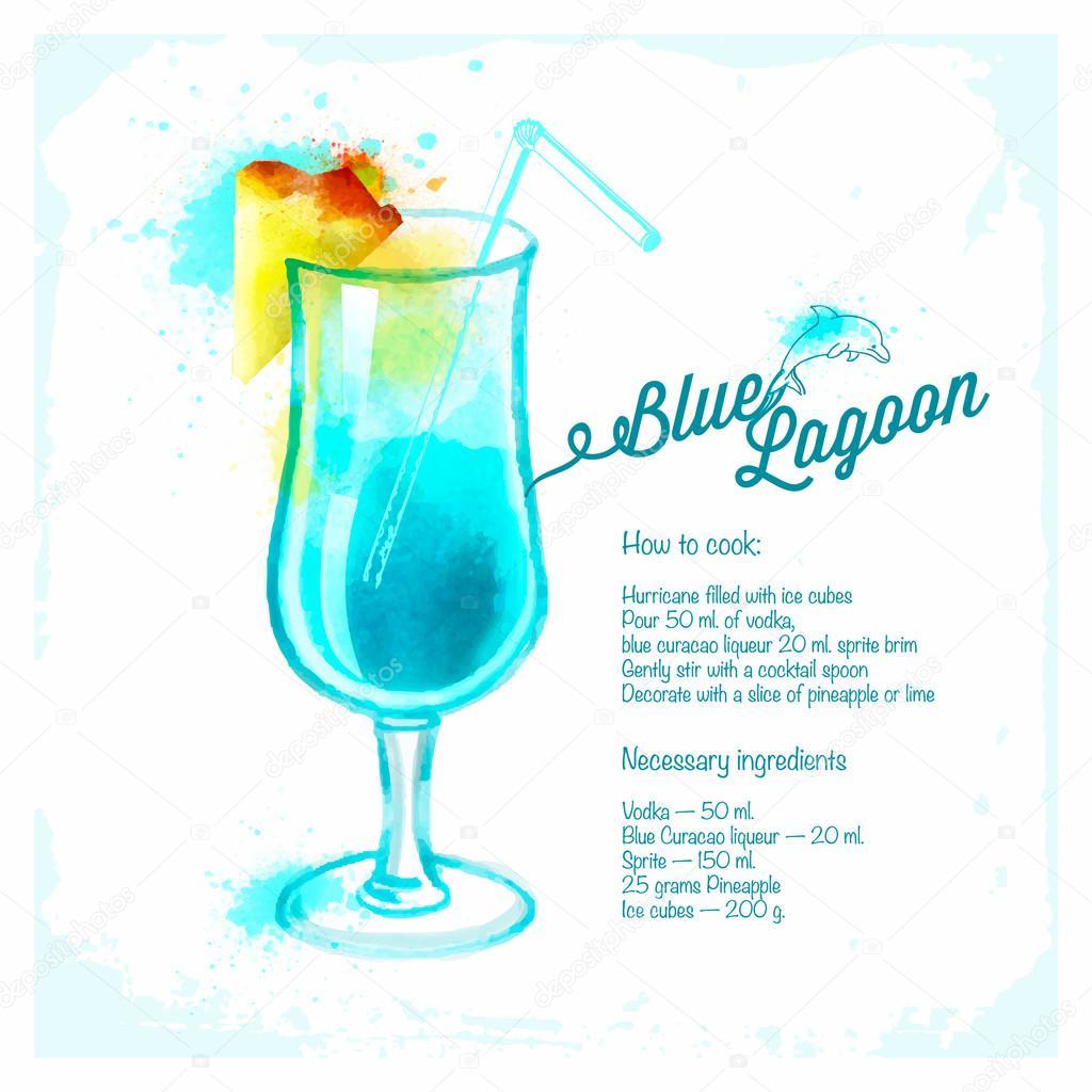 aquarelle dessin e de cocktail lagon bleu image vectorielle deedman 50728097. Black Bedroom Furniture Sets. Home Design Ideas