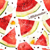 Watermelon vector seamles watercolor pattern — Stock Vector
