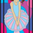 Girl ballerina art stained glass panel — Stockvector