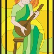 Girl art musician domra mosaic — Vector de stock  #40519211