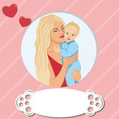 Woman child mother's day mom son family baby — Stock Vector