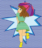Playful girl with umbrella style pop art — Vecteur