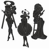 Vector silhouettes of art women. Artist musician ballerina — Stock Vector