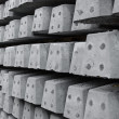 Stock Photo: Railway sleepers in rows