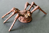 Chocolate homemade spider on black background — Stockfoto