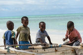 TANZANIA, ZANZIBAR: MARCH 26 2013: young happy african boys on f — Stock Photo