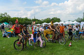 POLAND, CRACOW - 9 JUNE 2013: mayor cycling event in Cracow with — Stock Photo