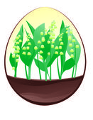 Lily of the valley in Easter egg — Stock Vector