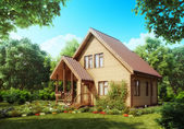 Suburban wooden house. Cozy home exterior. — Stock Photo