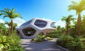 Futuristic office exterior in the tropics. — Stock Photo