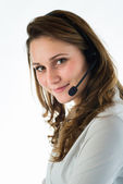 Isolated portrait of a young telephone operator — Stock Photo