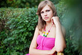 Portrait young nice woman outdoor — Stock Photo