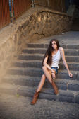 Model on stairs — Stock Photo