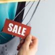 Sale with hand — Foto Stock
