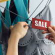 Sale with woman hand — Foto Stock