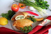 Pies with egg and spring onions — Stock Photo