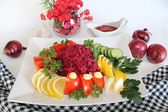 Salad with red beet and garlic — Stock Photo