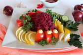 Vegetables salad with red beet — Stock Photo