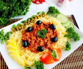 Vermicelli with fry minced meat of tomato sause — Stock Photo