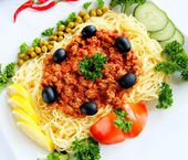 Vermicelli with minced meat of tomato sause — Stock Photo