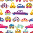 Children's pattern-with their toy cars. — Stock Vector