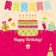 Beautiful happy birthday greeting card. — Stock Vector #41553761