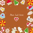 Sweetheart postcard with a new year cookies. — Vecteur