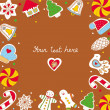 Sweetheart postcard with a new year cookies. — ストックベクタ