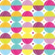 Seamless pattern with bright circles and hearts — Stock Vector