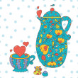 Tea set with hearts. — Stock Vector