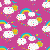 Rainbow and happy clouds. — Stock Vector