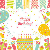 Happy birthday card with place for text. — Stock Vector
