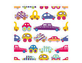 Children's vector seamless pattern-with their toy cars. — Stock Vector