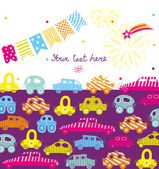Children vector postcard with cars — Stock Vector