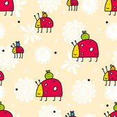 Cute vector seamless pattern with ladybird — Stock Vector