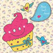 Fun postcard about cupcake. — Stock Vector