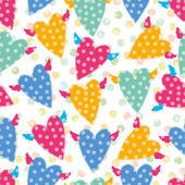 Flying hearts and polka dots. — Vector de stock